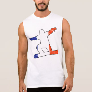 French Tricolor SNOWBOARDER (blk) Sleeveless Shirt