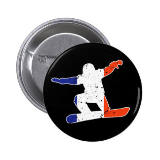 French Tricolor SNOWBOARDER (wht) 2 Inch Round Button