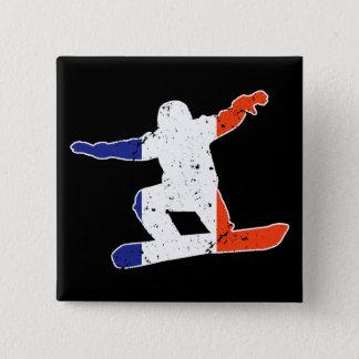French Tricolor SNOWBOARDER (wht) 2 Inch Square Button