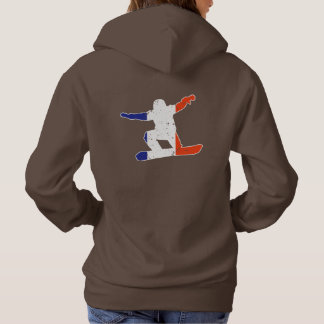 French Tricolor SNOWBOARDER (wht) Hoodie
