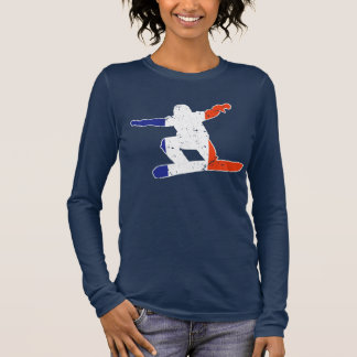 French Tricolor SNOWBOARDER (wht) Long Sleeve T-Shirt