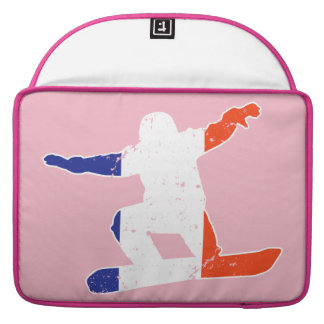 French Tricolor SNOWBOARDER (wht) MacBook Pro Sleeve
