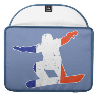 French Tricolor SNOWBOARDER (wht) MacBook Pro Sleeves