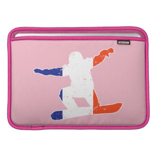 French Tricolor SNOWBOARDER (wht) Sleeves For MacBook Air