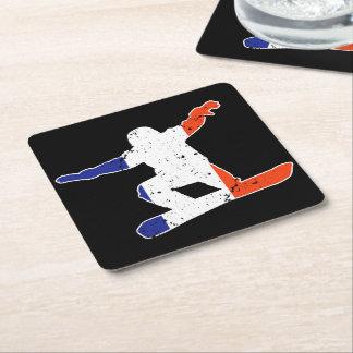 French Tricolor SNOWBOARDER (wht) Square Paper Coaster
