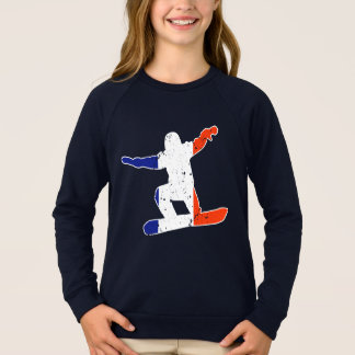 French Tricolor SNOWBOARDER (wht) Sweatshirt