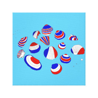 French Tricolore Shells Canvas Print
