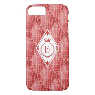 French Trompe L'oeil Tufted Red Diamond Monogram iPhone 7 Case
