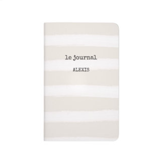 French Typewriter Text on Chic Gray Stripes Journal