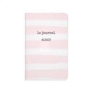 French Typewriter Text on Chic Pink Stripes Journal