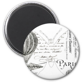 French Typography Butterfly Paris Design 2 Inch Round Magnet