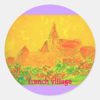 french village watercolour round sticker