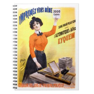 French Vintage Advertising Poster Restored Spiral Notebook