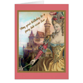 French Vintage Fashion and Castle Birthday Card