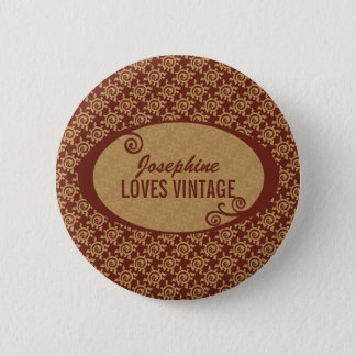 French Vintage Floral Pattern 2 Inch Round Button