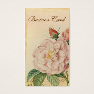 French Vintage Pink Rose Business Cards
