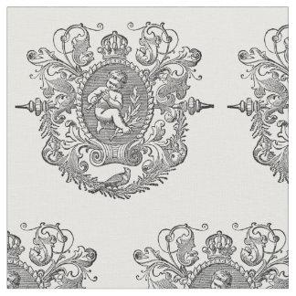 french vintage typography cherub design fabric