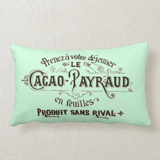 French Vintage Typography Chocolate Advertisement Lumbar Pillow