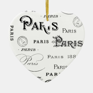 french vintage typography design Paris Ceramic Ornament