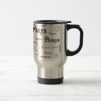 french vintage typography design Paris Travel Mug