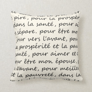 French Wedding Vows Handwriting Black and Ivory Pillow