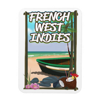 French West Indies Beach travel poster Magnet