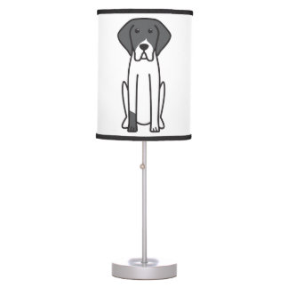 French White and Black Hound Dog Cartoon Table Lamp