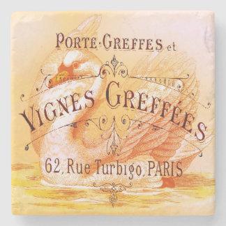 French Wine Grapevine Vintage Advertisement Stone Coaster