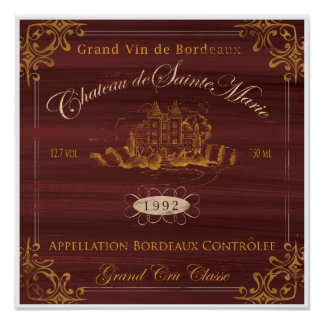 French Wine LabelArt:Bordeaux Poster