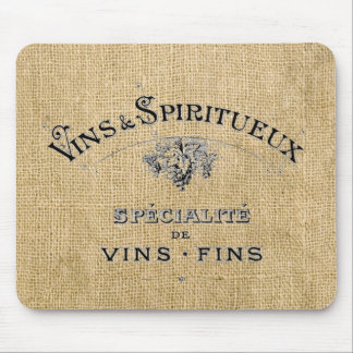 French Wine on Burlap Mouse Pad