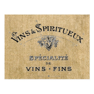 French Wine on Burlap Postcard