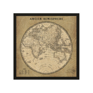 French World Map II 6 Wood Canvases