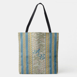 French Woven Tapestry Look Custom Monogram Tote Bag