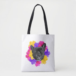 Frenchie and Pansies Bag