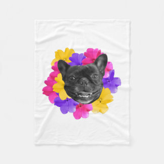 Frenchie and Pansies Blanket