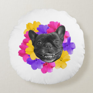 Frenchie and Pansies Pillow