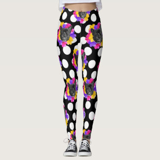 Frenchie and Pansy Dots Leggings