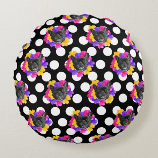 Frenchie and Pansy Dots Pillow