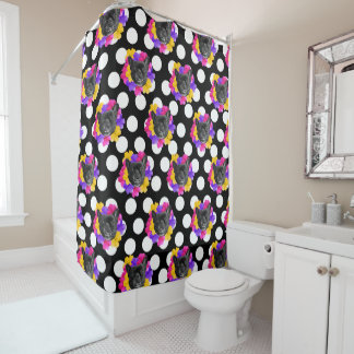 Frenchie and Pansy Dots Shower Curtain