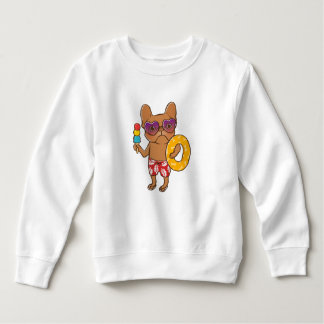 Frenchie at the beach in Summer Sweatshirt