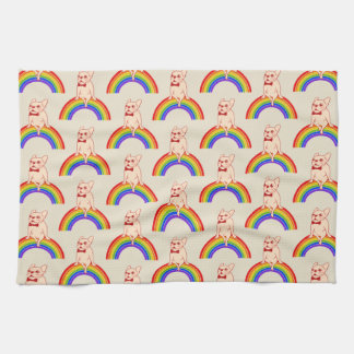 Frenchie celebrates Pride Month on LGBTQ rainbow Kitchen Towel