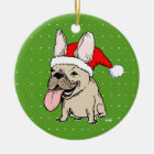 Frenchie Clause Ceramic Ornament