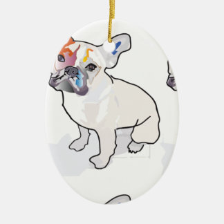 frenchie clown ceramic ornament