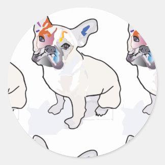 frenchie clown classic round sticker
