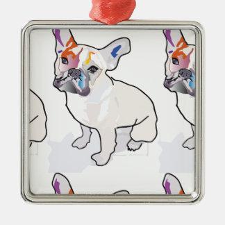 frenchie clown metal ornament