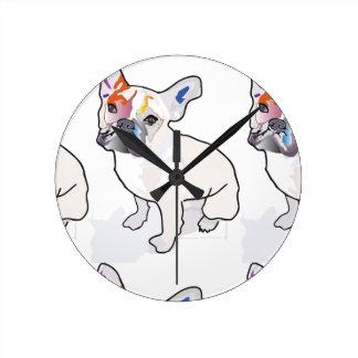 frenchie clown round clock