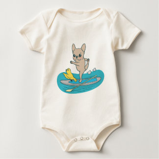 Frenchie doing yoga on stand-up paddle board baby bodysuit