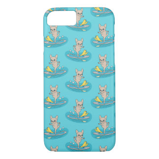 Frenchie doing yoga on stand-up paddle board Case-Mate iPhone case