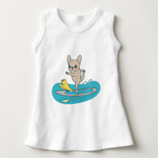 Frenchie doing yoga on stand-up paddle board dress