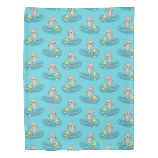 Frenchie doing yoga on stand-up paddle board duvet cover